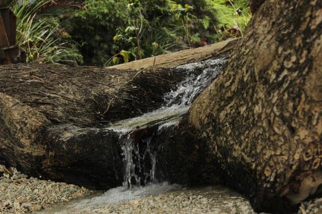 air terjun air tawar yang ngalir ke pantai ademnya dahaga langsung ilang